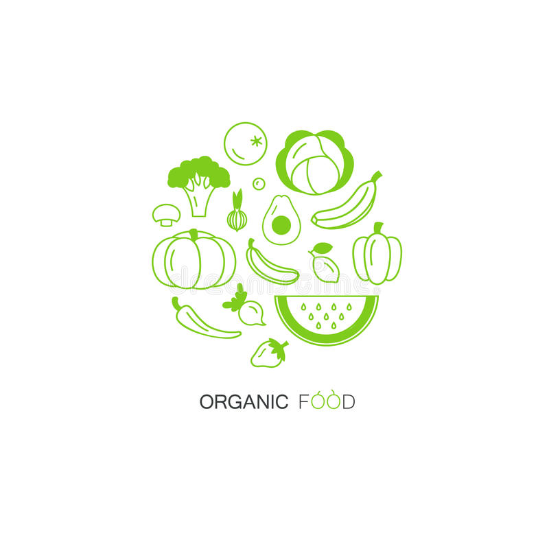 Fruit and vegetable vector circle on a white background. Healthy food design. royalty free stock photo