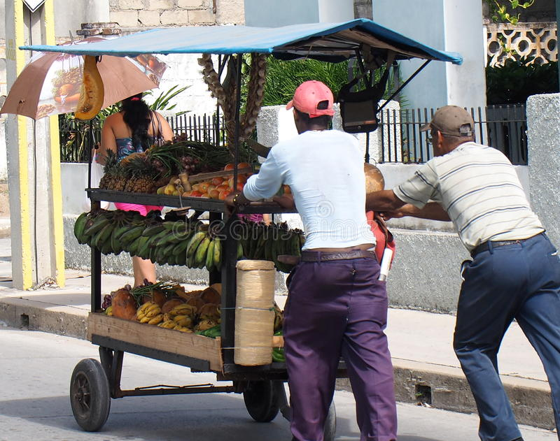 Fruit and vegetable vendors. On the streets of Holguin Cuba stock images