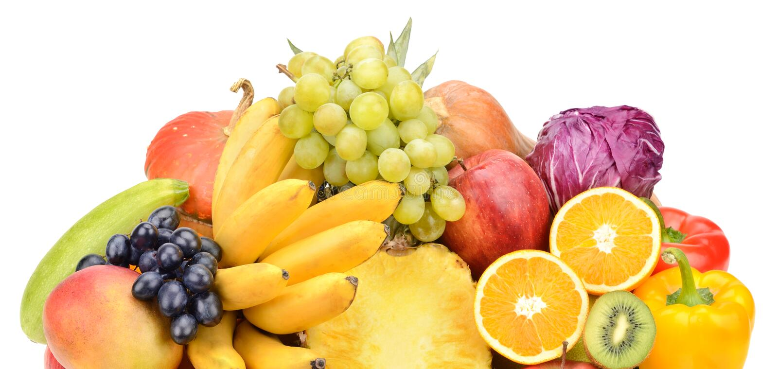 Fruit and vegetable. On white background stock photo