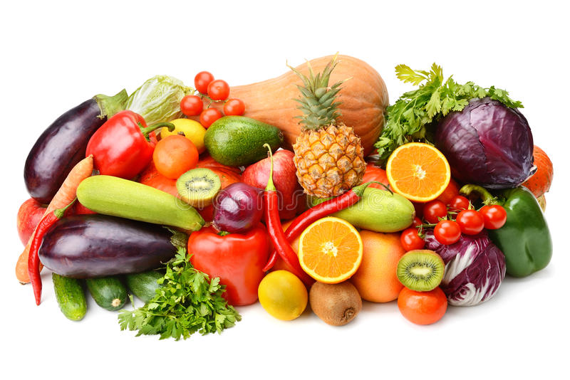 Fruit and vegetable. On white background royalty free stock image
