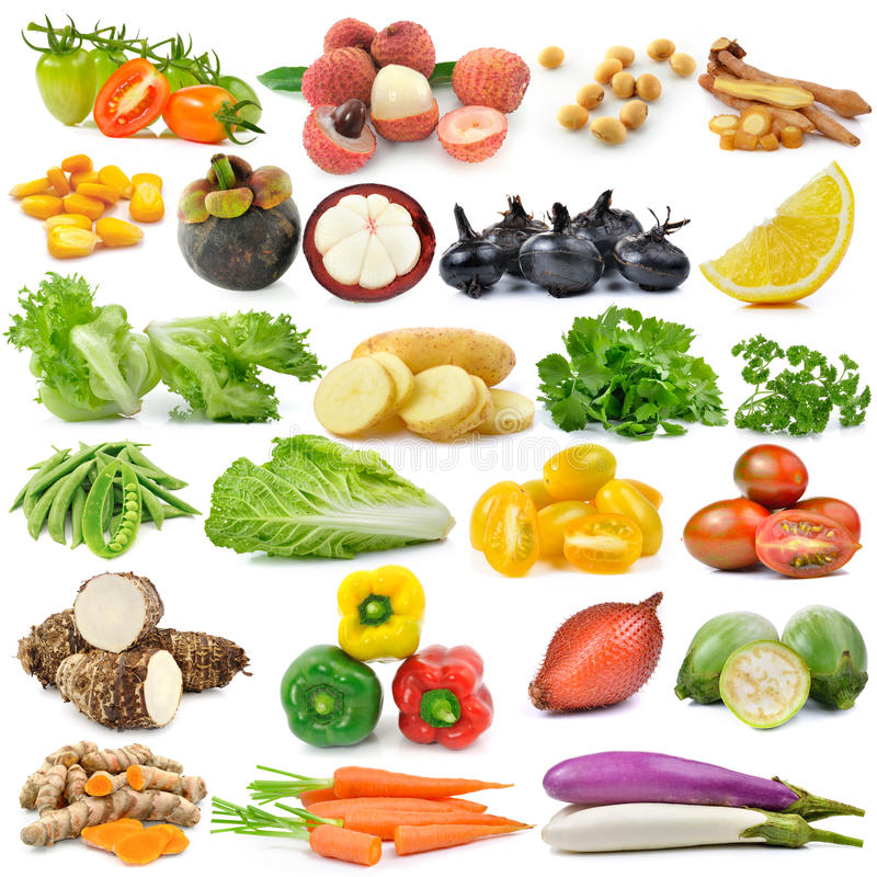 fruit and vegetable on white background royalty free stock photography