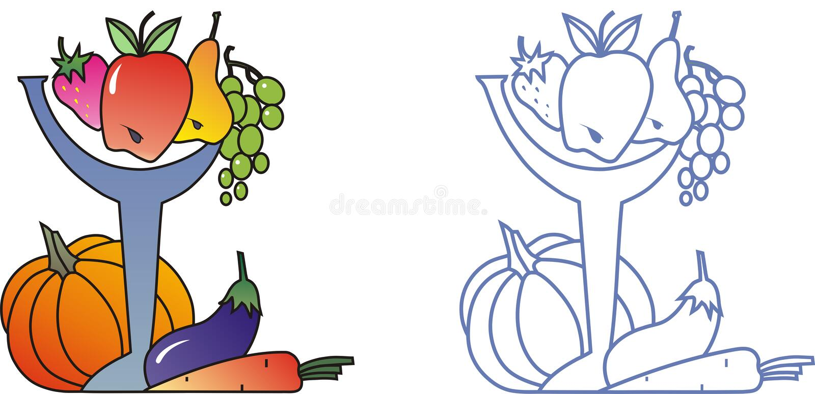 Download Fruit and vegetables stock vector. Image of pear, pumpkin - 3045511
