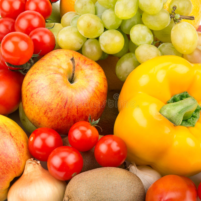 Fruit and vegetables. Background of fruit and vegetables royalty free stock photo