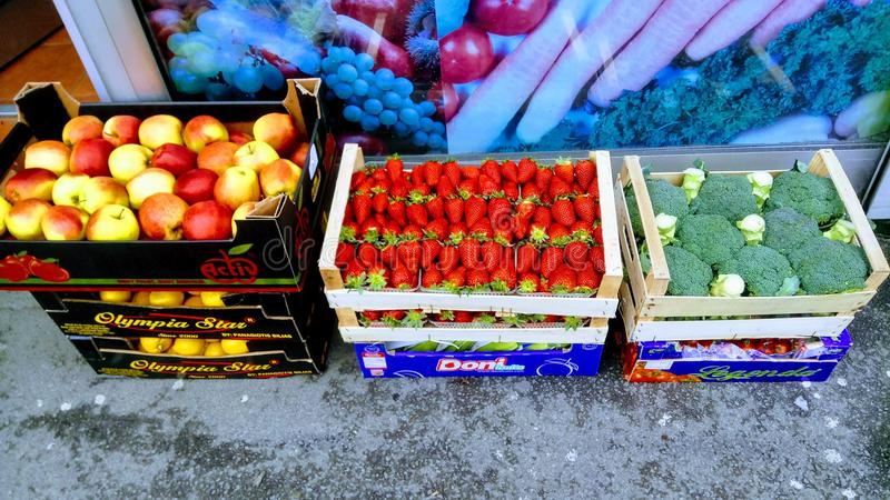 Fruit and vegetables baskets stock image