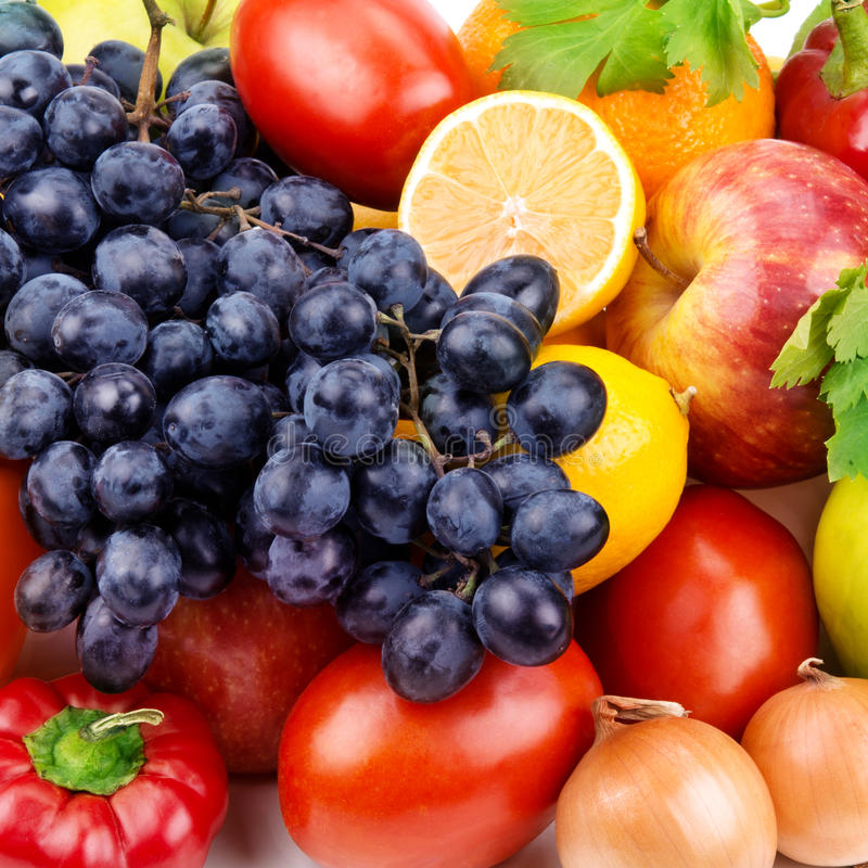 Fruit and vegetables. Bright background of fruit and vegetables stock photo