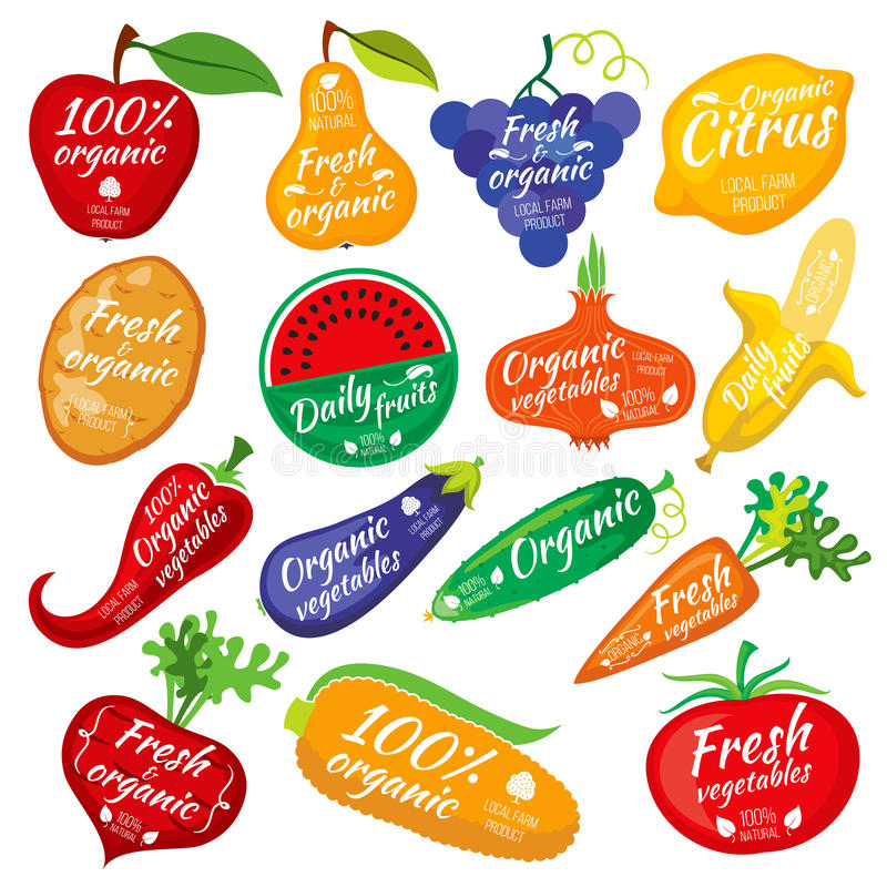 Fruit and vegetables color silhouettes, logo for food store packaging royalty free illustration