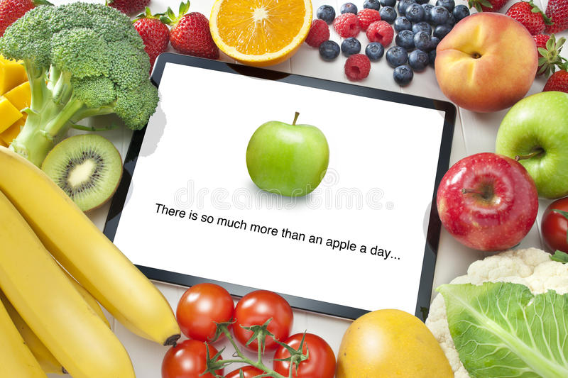 Download Fruit Vegetables Healthy Diet Tablet App Stock Photo - Image of business, fresh: 44453794