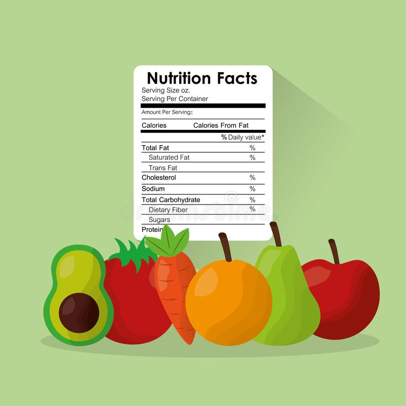 Fruit and vegetables healthy food nutrition facts label benefits stock illustration