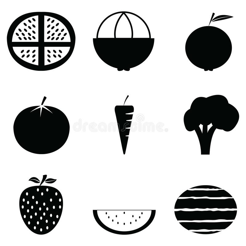 Fruit and vegetables icon set vector illustration