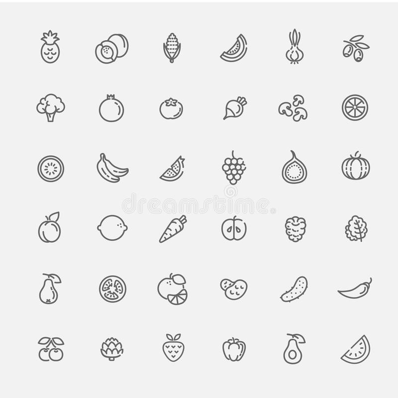 Fruit and Vegetables icon set stock illustration