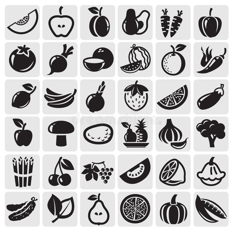 Download Fruit and Vegetables set stock vector. Image of freshness - 25926503
