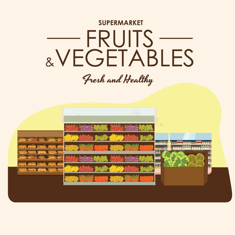 Fruit and vegetables shelf with fresh healthy food in supermarket, big choice of organic products sale in food shop. Interior, store vector illustration stock illustration