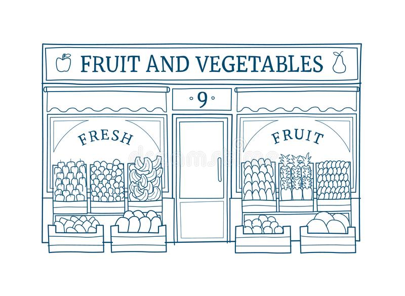 Fruit and vegetables store facade hand drawn vector illustration royalty free illustration