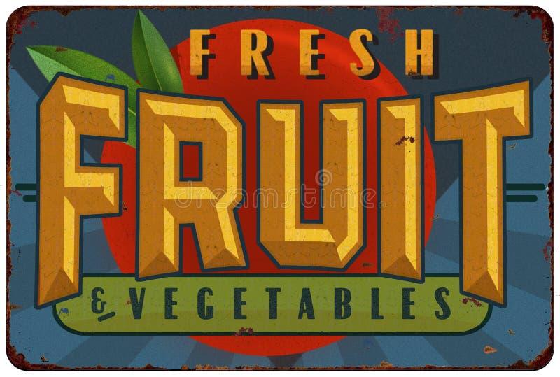 Fruit and Vegetables Tin Sign Label royalty free illustration