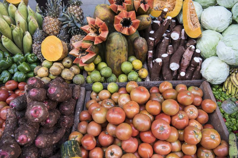 Fruit and vegetables on tropical market royalty free stock photos