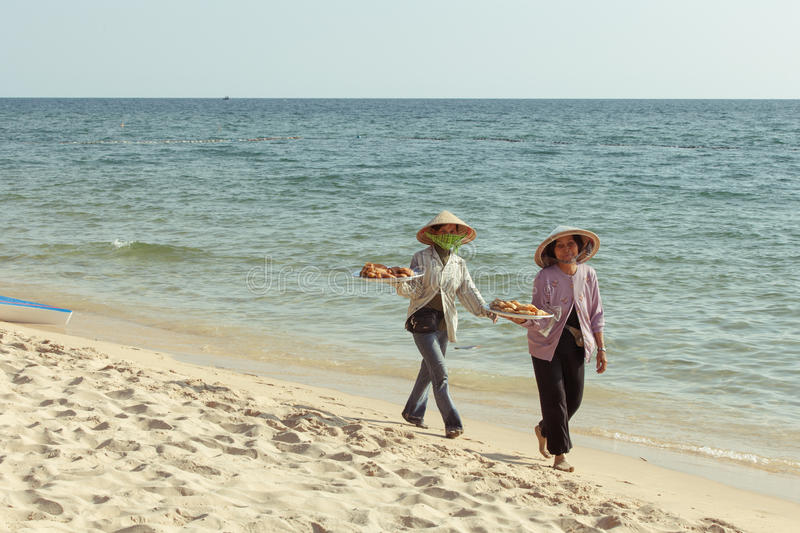 Fruit vendors on the beach of Phu Quoc Island. Popular tourist destination, Southern Vietnam stock photography