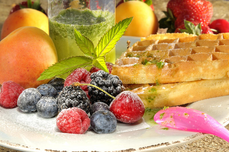 Fruit and waffles. Fresh fruits and waffles with peppermint topping royalty free stock images