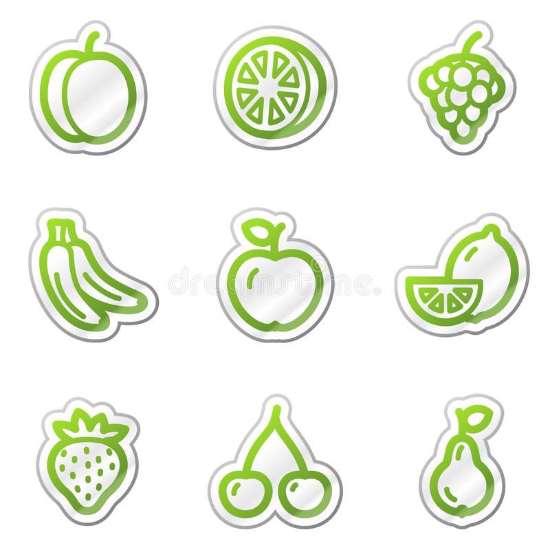 Fruit web icons, green contour sticker series