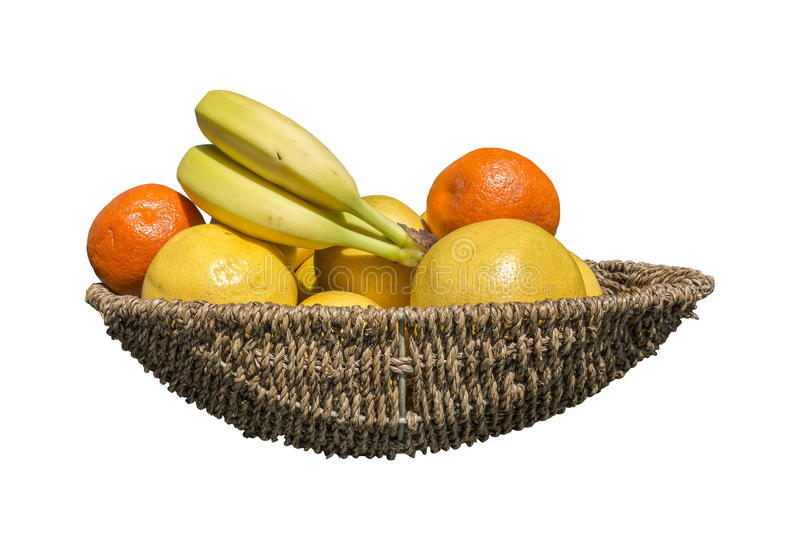 Fruit in a wicker basket. Isolated on a white background with path included royalty free stock photo