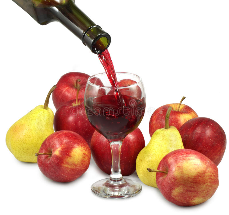 Fruit and wine. Isolated image of fruit, a bottle of wine and a glass royalty free stock images