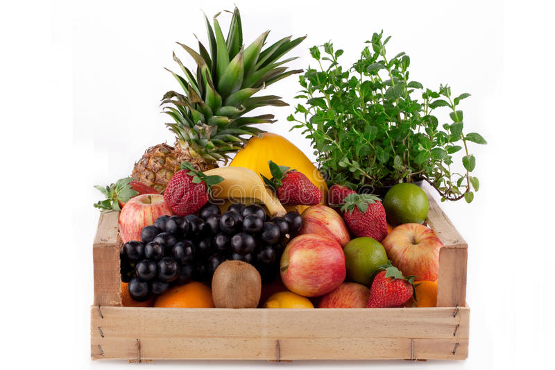 Download Fruit in wooden box. stock photo. Image of kiwi, pineapple - 13868290