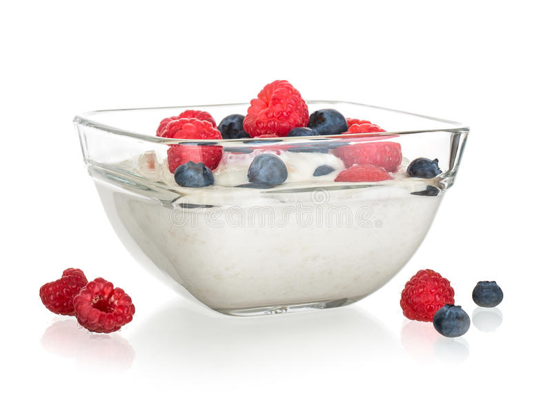 Fruit yoghurt isolated stock photo