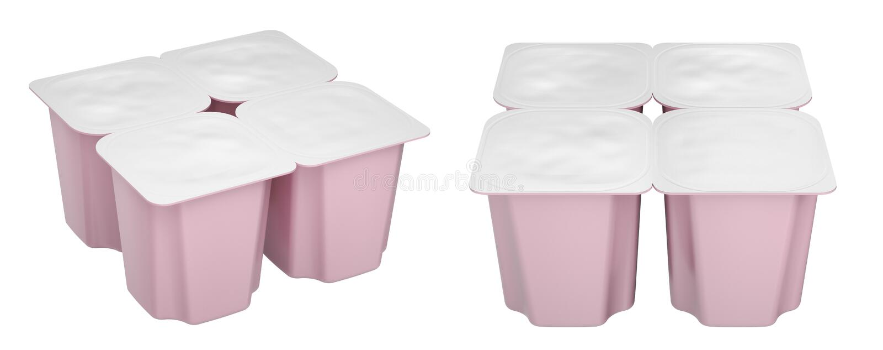 Fruit yogurt mockup with blank cover vector illustration