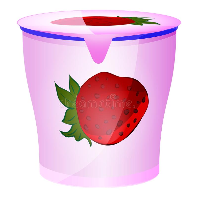 Fruit yogurt in plastic container isolated on the white background. Flat style. Vector illustration royalty free illustration