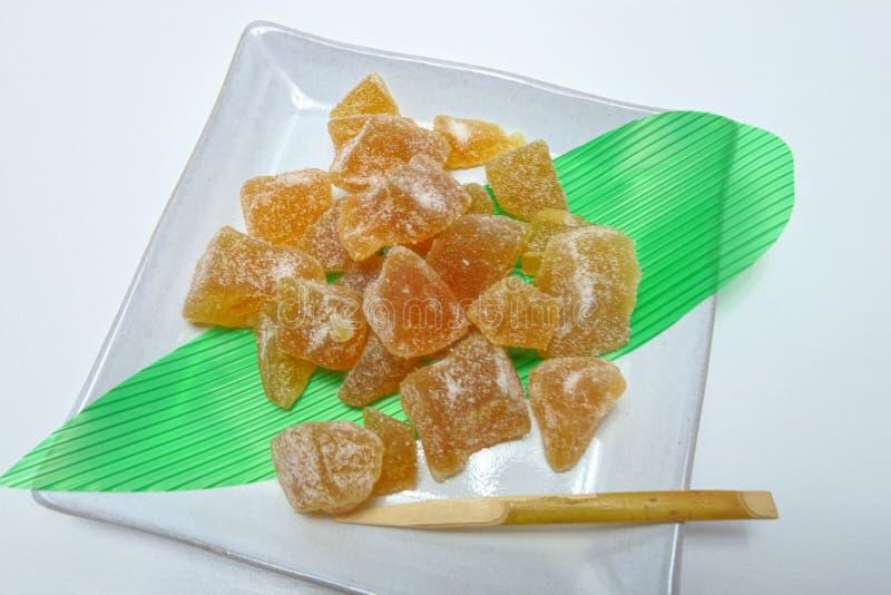 Fruita cristalizado no fruita plate  Candied fotografia de stock