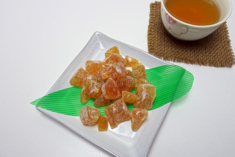 Fruita cristalizado no fruita plate  Candied imagens de stock royalty free