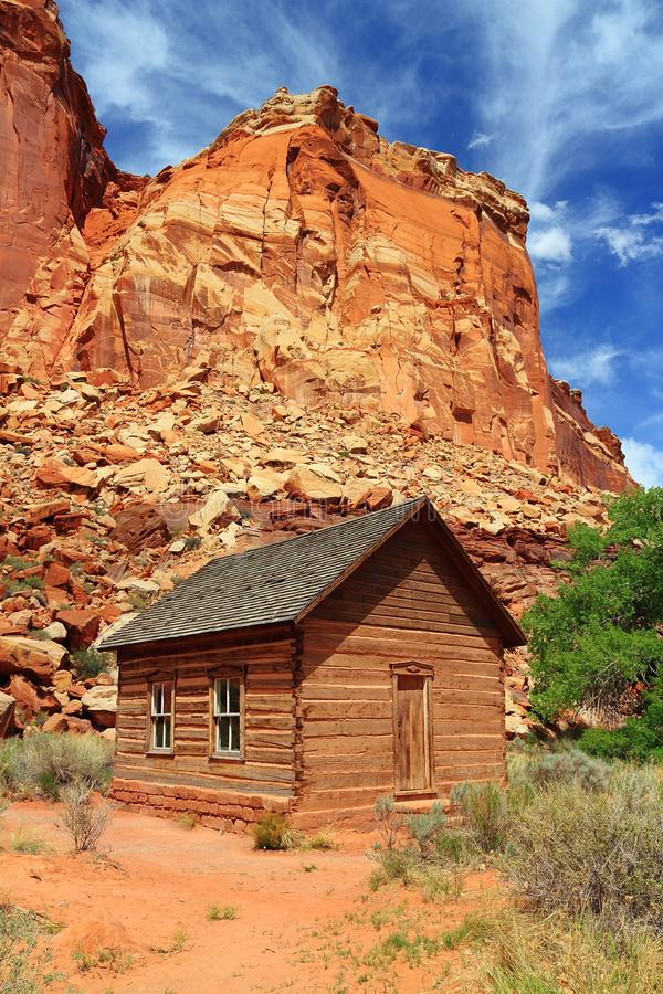 Fruita Schoolhouse, Capitol Reef National Park, Utah, Southwest, USA. The wooden one-room historic schoolhouse is located in the small settlement at Fruita in stock photography