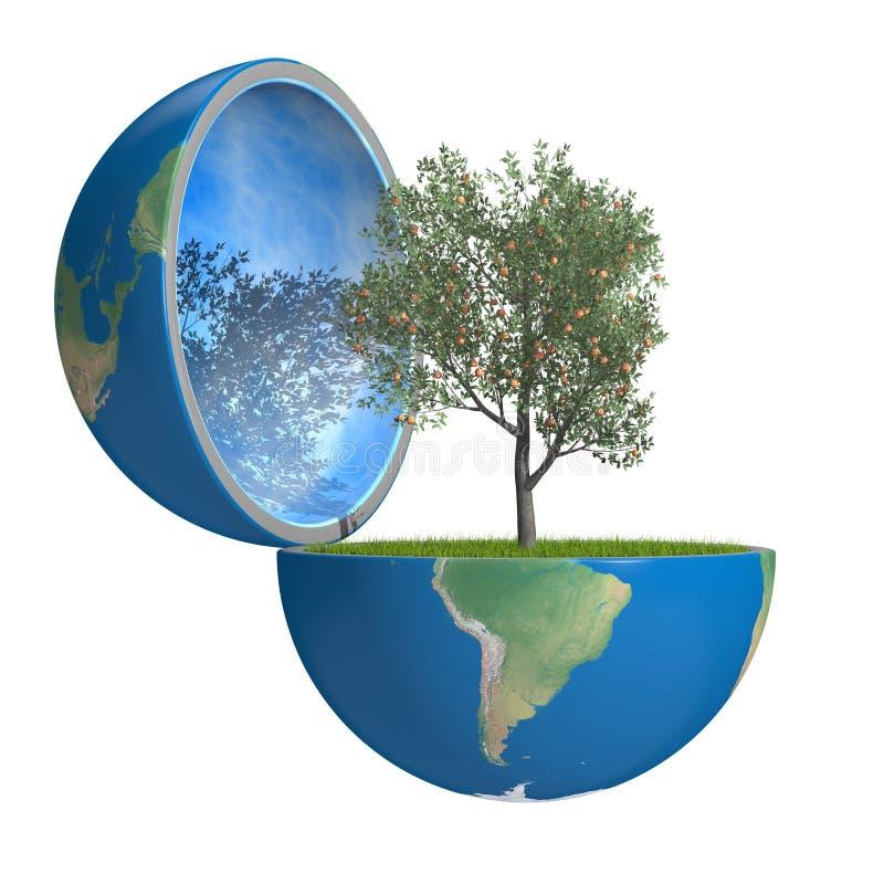Fruitboom binnen planeet stock illustratie