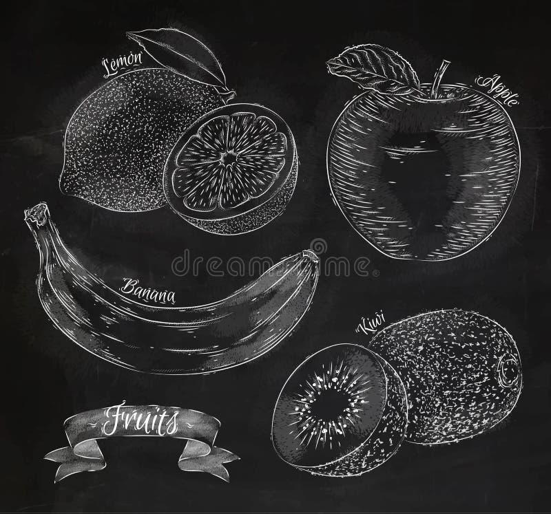 Fruitcitroen, appel, banaan, kiwikrijt stock illustratie