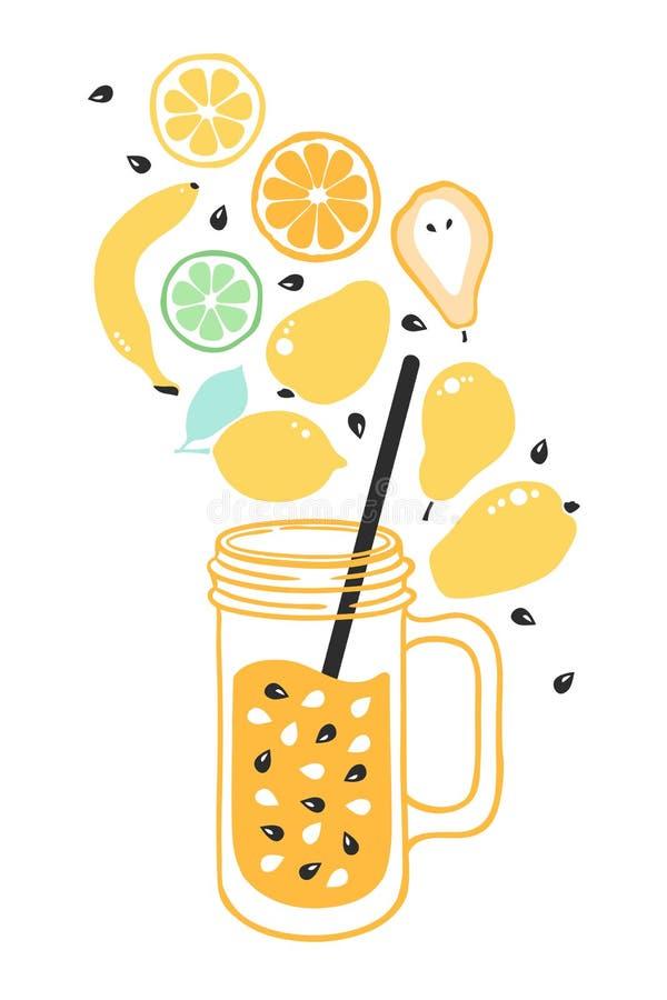 Fruitdrank Smoothies van van de de citroenkalk van de mangobanaan oranje de perenzaden Vegetarisch gezond voedsel vector illustratie