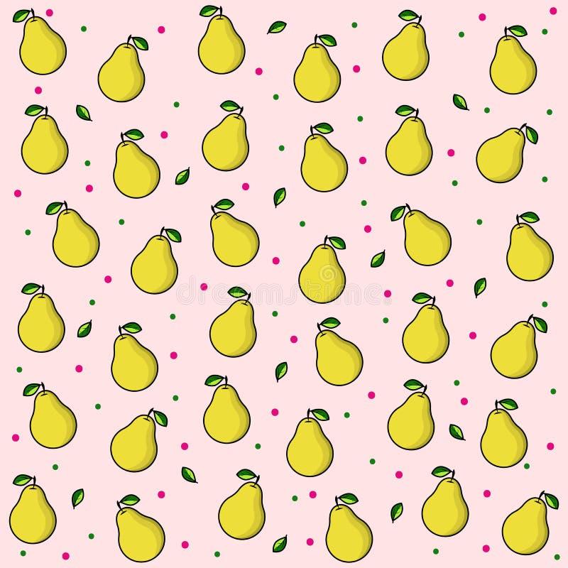 Fruitdruk op roze achtergrond met dalingen Helder fruit: peren Rijpe gele peer met groen blad Vectorpatroonachtergrond voor royalty-vrije illustratie