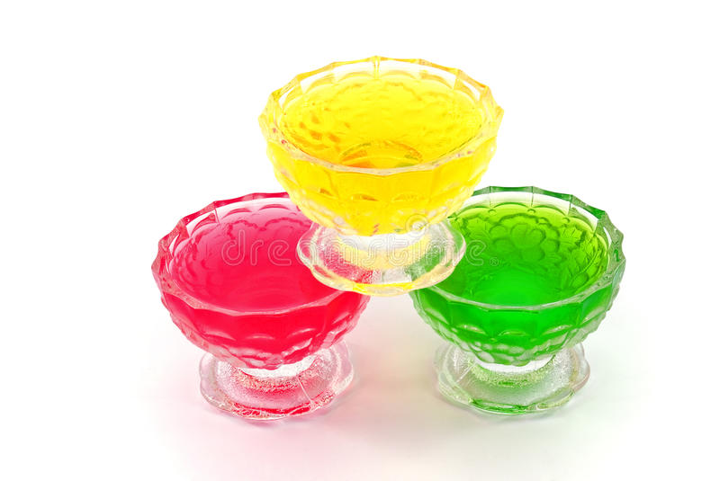 Fruite jelly. Different fruite jelly in ice-cream bowls stock photography