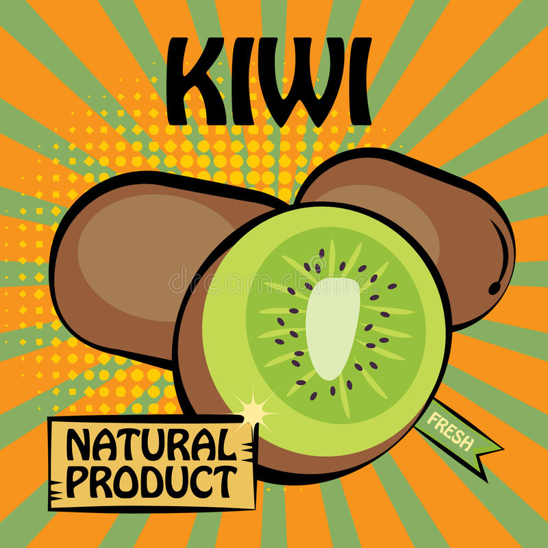 Fruitetiket, Kiwi vector illustratie
