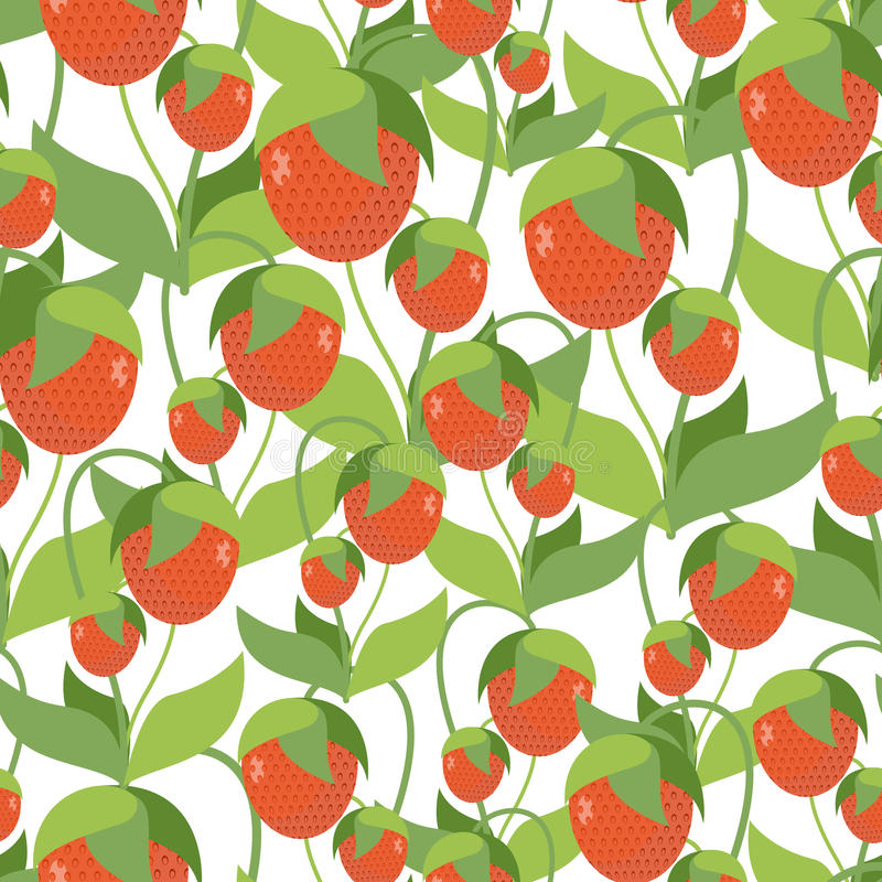 Fruitige Aardbeitextuur Vector naadloos patroon van rode berrie stock illustratie