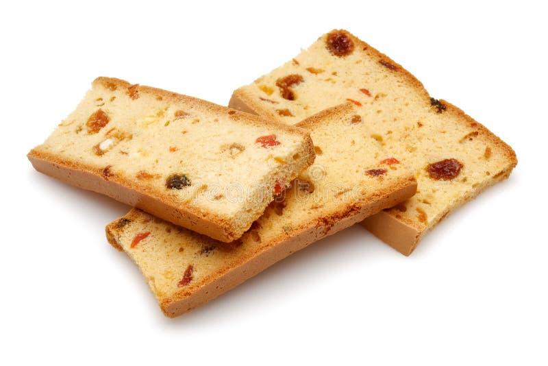 Fruitige beschuit, koekjes op witte achtergrond stock foto's