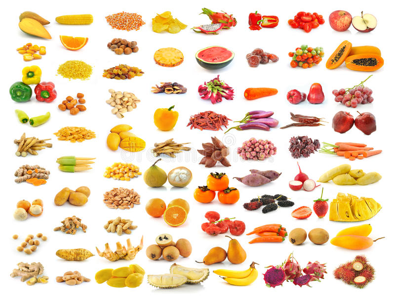 Fruitinzameling op wit royalty-vrije stock fotografie