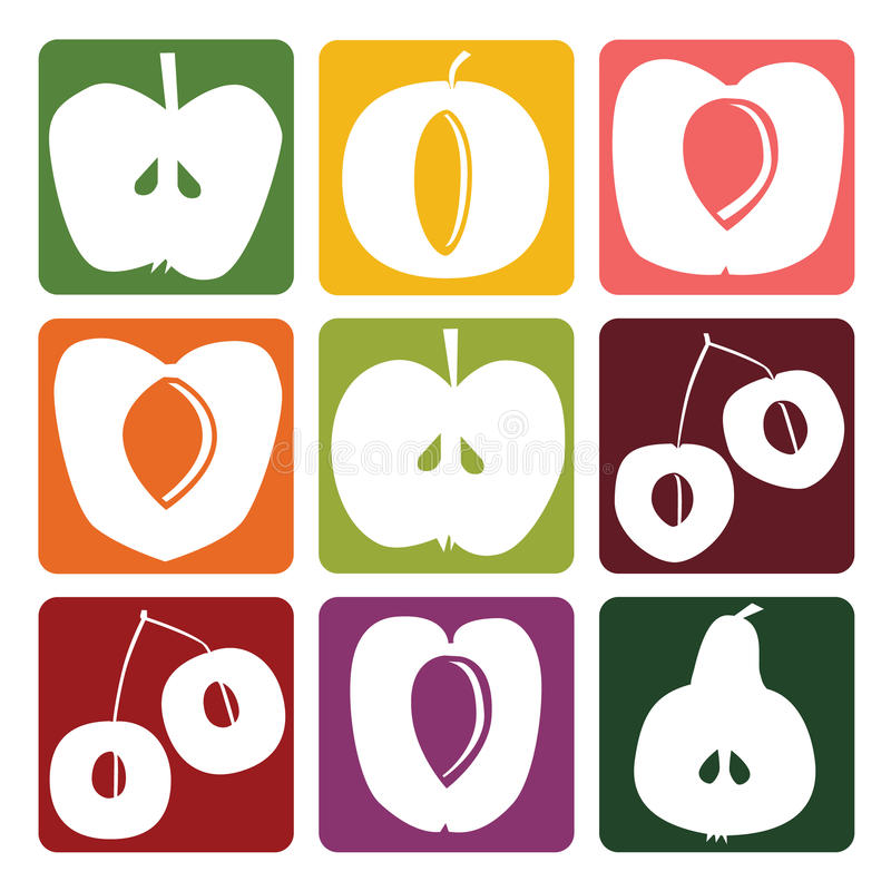Fruitpictogrammen stock illustratie