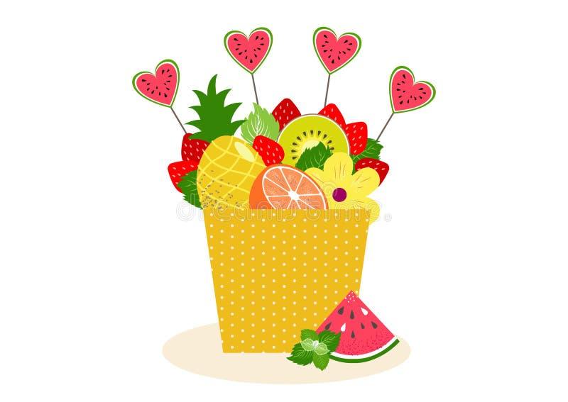 Fruitr et bouquet de baies dans un pot illustration de vecteur