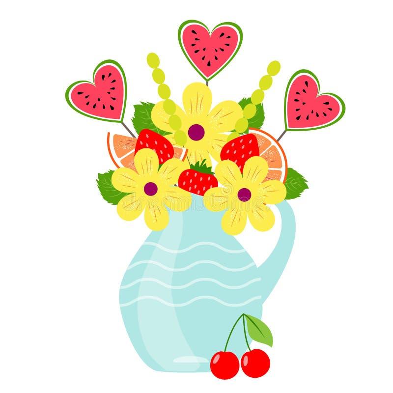 Fruitr och bärbukett royaltyfri illustrationer