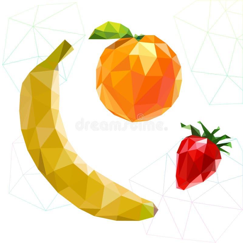 Fruitreeks veelhoeken Banaan, sinaasappel, aardbei Vector stock illustratie
