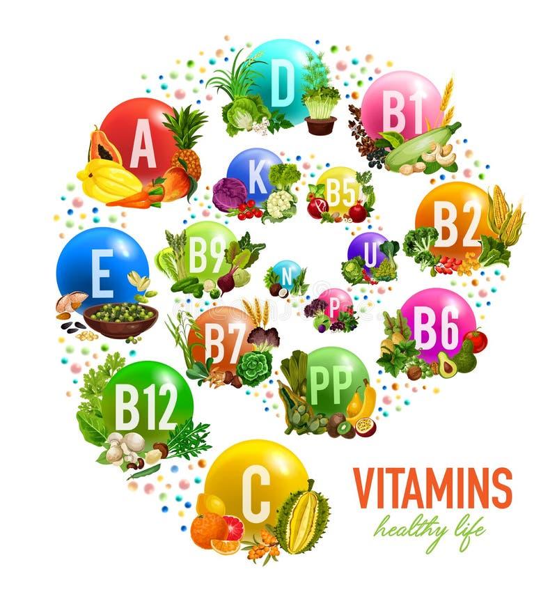 Fruits, écrous et vitamines végétales, vecteur illustration libre de droits