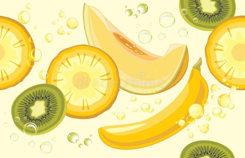 fruits сочно Безшовная предпосылка для дизайна иллюстрация вектора