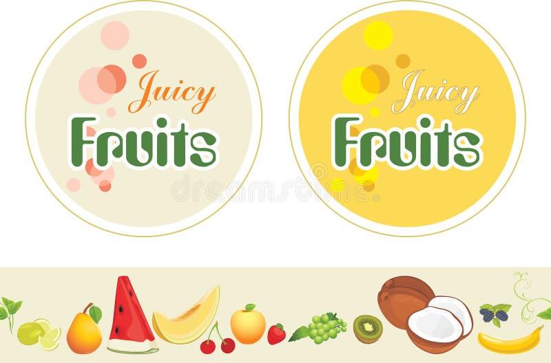 fruits сочно Ярлыки и граница для дизайна иллюстрация штока