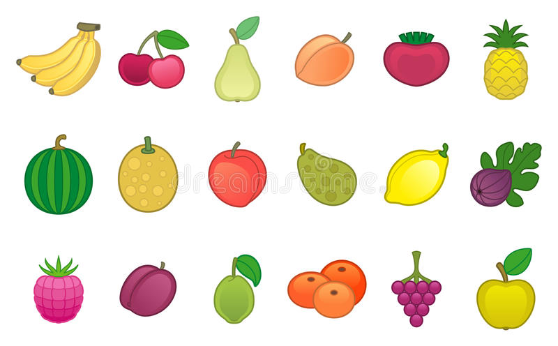 Fruits. Set of various fruits plant vector illustration