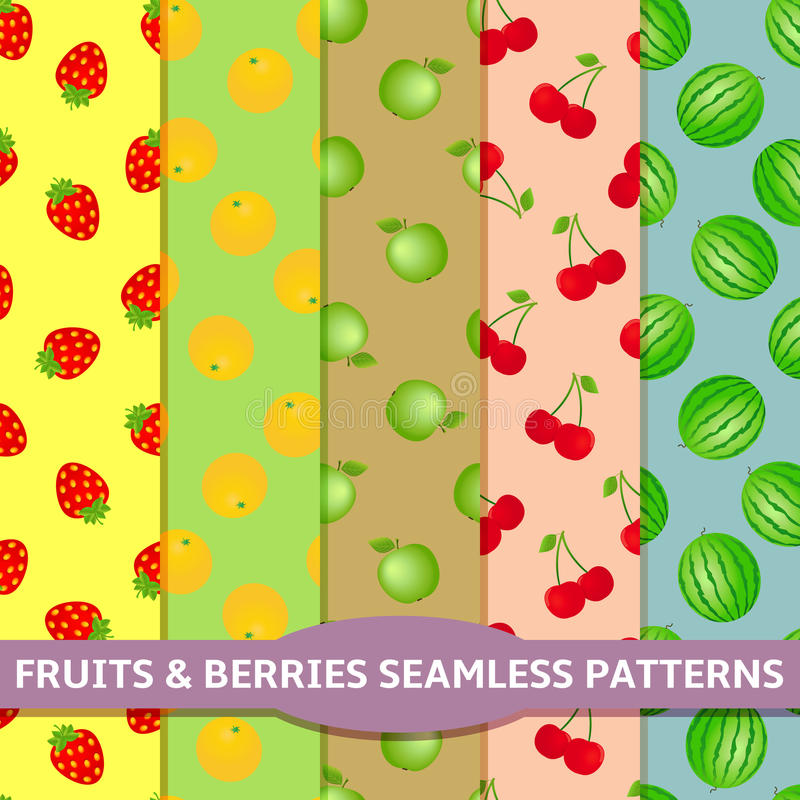 Free Fruits And Berries Seamless Patterns Stock Photos - 51859733