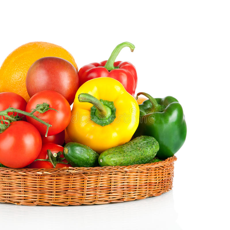 Free Fruits And Vegetables In Basket On A White Background Stock Photos - 28721563